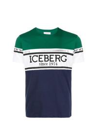 Мужская разноцветная футболка с круглым вырезом с принтом от Iceberg