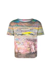 Мужская разноцветная футболка с круглым вырезом с принтом от Maison Margiela
