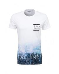 Мужская разноцветная футболка с круглым вырезом с принтом от s.Oliver Denim