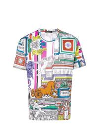 Мужская разноцветная футболка с круглым вырезом с принтом от Versace