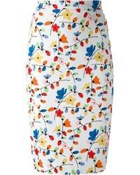 Разноцветная юбка-карандаш с цветочным принтом