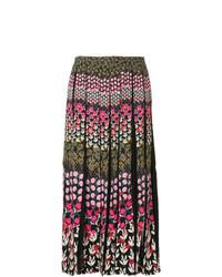 Разноцветная юбка-миди с цветочным принтом