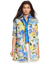 Разноцветное пальто с цветочным принтом