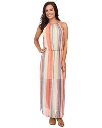 Разноцветное платье-макси в вертикальную полоску