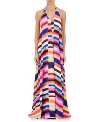 Разноцветное платье-макси в горизонтальную полоску