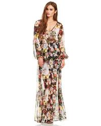 Разноцветное платье-макси с цветочным принтом