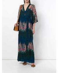 Разноцветное платье-макси с цветочным принтом от AILANTO