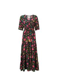 Разноцветное платье-макси с цветочным принтом от Figue