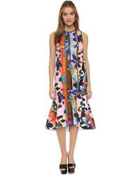 Разноцветное платье-миди с цветочным принтом