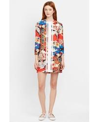 Разноцветное платье прямого кроя с цветочным принтом