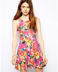 Разноцветное платье с плиссированной юбкой с цветочным принтом