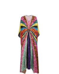 Разноцветное шелковое пляжное платье в горизонтальную полоску от Mary Katrantzou
