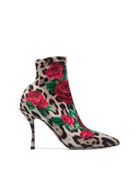 Разноцветные ботильоны на резинке с леопардовым принтом от Dolce & Gabbana