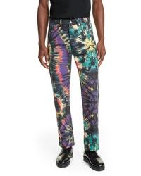 Разноцветные джинсы с принтом тай-дай
