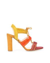 Разноцветные замшевые босоножки на каблуке
