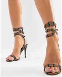 Разноцветные кожаные босоножки на каблуке в горизонтальную полоску