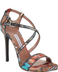 Разноцветные кожаные босоножки на каблуке