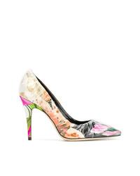 Разноцветные кожаные туфли с цветочным принтом