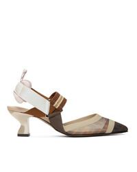 Разноцветные туфли в сеточку в горизонтальную полоску от Fendi