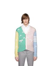 Мужской разноцветный вязаный кардиган от Thom Browne