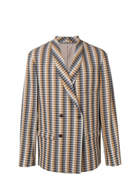 Мужской разноцветный двубортный пиджак в вертикальную полоску от Lemaire