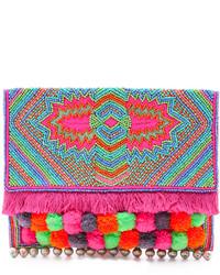 Разноцветный клатч с украшением