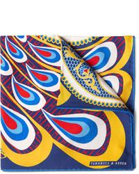Разноцветный нагрудный платок с принтом от Turnbull & Asser