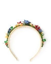 Разноцветный ободок/повязка с цветочным принтом от Dolce & Gabbana