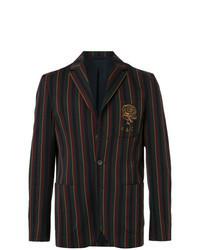 Разноцветный пиджак в вертикальную полоску