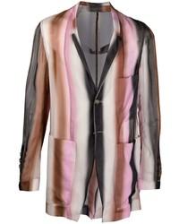 Мужской разноцветный пиджак в вертикальную полоску от Rick Owens