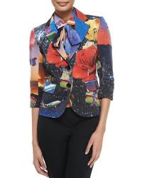 Разноцветный пиджак с принтом
