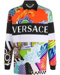 Мужской разноцветный свитер с воротником поло с принтом от Versace