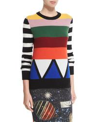 Разноцветный свитер с круглым вырезом в горизонтальную полоску