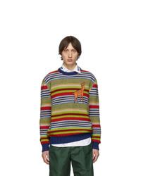 Мужской разноцветный свитер с круглым вырезом в горизонтальную полоску от Gucci