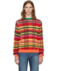Разноцветный свитер с круглым вырезом в шотландскую клетку