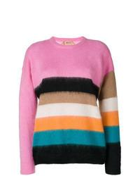 Разноцветный свитер с круглым вырезом из мохера в горизонтальную полоску