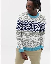 Разноцветный свитер с круглым вырезом с жаккардовым узором