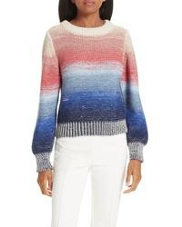 Разноцветный свитер с круглым вырезом с принтом тай-дай