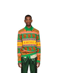 Мужской разноцветный свитер с круглым вырезом с принтом от Gucci