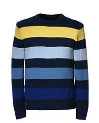 Разноцветный свитер с круглым вырезом