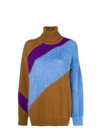 Разноцветный свободный свитер в горизонтальную полоску