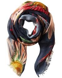 Разноцветный шарф с цветочным принтом