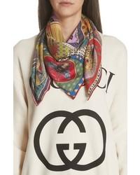 Разноцветный шелковый шарф с принтом
