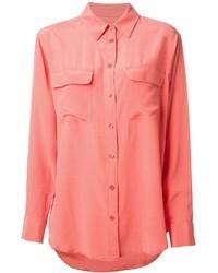 Розовая блуза на пуговицах