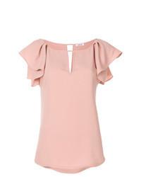 Розовая блуза с коротким рукавом с рюшами