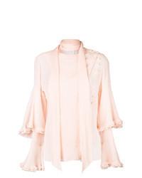 Розовая блузка с длинным рукавом с рюшами