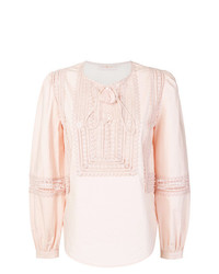 Розовая блузка с длинным рукавом от Tory Burch