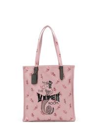 Розовая большая сумка из плотной ткани с принтом от Coach