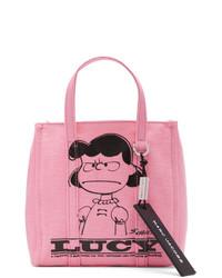 Розовая большая сумка из плотной ткани с принтом от Marc Jacobs