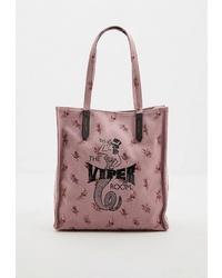 Розовая большая сумка из плотной ткани от Coach